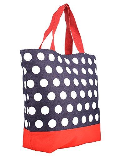 Borsa Donna Dana Pois Retro Puntini Shopper Multicolore Blu Scuro / Bianco / Rosso