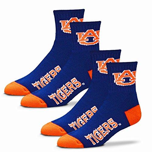 For Bare Feet Herren NCAA Quarter Socken, 2 Stück, Herren, Auburn Tigers-2 Pack-Blue, Large (10-13) -