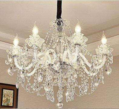 LeohomeLampadari di cristallo a LED di lusso Illuminazione Cristal brillante per soggiorno Camera da letto Hotel lampadario Led moderni grandi lampadari, 8 luci