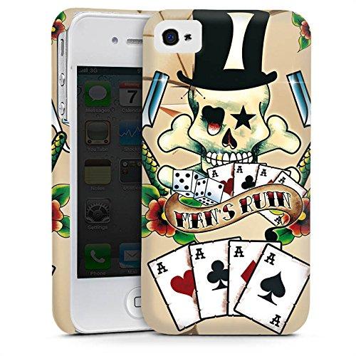 Apple iPhone 5 Housse étui coque protection Tête de mort Cartes Fleurs Cas Premium mat