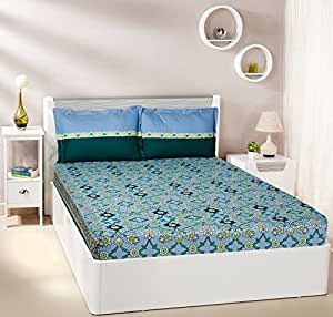 Amazon Brand - Solimo Imperial Trail 144 TC 100% Cotton Double Bedsheet with 2 Pillow Covers, Sky Blue and Bottle Green