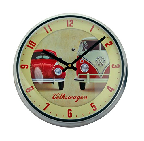 Coole Wanduhr ~ VW Bulli Käfer ~ Uhr Ø 31,5 cm Vintage Stil Metall Volkswagen