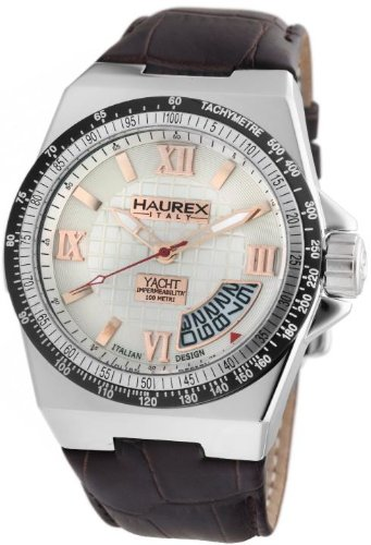 Haurex Italy Mens Watch 8A340USH Yacht with Silver Dial and Brown Leather Strap
