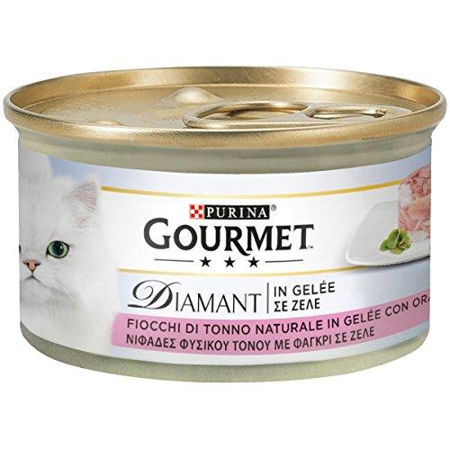 Purina gourmet diamant umido gatto fiocchi di tonno in gelée con orata- 24 lattine da 85 g ciascuna (confezione da 24 x 85 g)