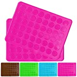 Belmalia 2x Backmatte für 24 Macarons, Silikon, 48 Mulden, antihaftbeschichtet, Backofen, Matte, Macrones, Makronen pink rosa