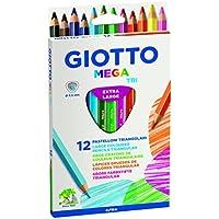 Giotto 220600 - Gio Mega-Tri Astuccio 12 Maxi Pastelloni Colorati