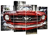 FORD MUSTANG Rétro Rouge Lot de 4 Toile de Split x 81,3 x 50,8 cm