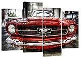 FORD MUSTANG Rétro Rouge Lot de 4Toile de Split x 81,3x 50,8cm