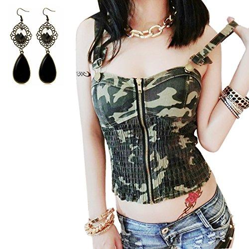 Sitengle Donna Canotta Denim Canotte Camouflage Fionda T Shirt Jeans Blusa Camicia Senza Maniche Camicetta Tank Top