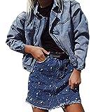 LHWY Falda Vaquera Midi, Falda De Mezclilla Femenina Irregular Alta Cintura Bodycon LáPiz Corto Mini Falda Corta (Azul, XL)