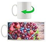 Frutta sulla acquarello legno tazza motivi in ??bianco 300ml ceramica, grande idea regalo per ogni occasione. La tua nuova tazza preferita per caffè, tè e bevande calde.
