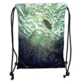 Trsdshorts Fantasy World,Underwater World with Tree Branches Stones Waves and Reflection of Sun Digital Art,Green Soft Satin,5 Liter Capacity,Adjustable String Closu