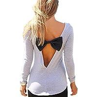 Vogholic Mujer Moda cuello redondo manga larga parte trasera abierta camiseta