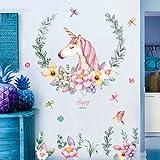 WandSticker4U- XL Wandtattoo EINHORN mit Blumen | Wandbild: 110x110 cm | Wandsticker Poster Fototapete Vogel Pferd Prinzessin Aufkleber | Wand Deko für Kinderzimmer Mädchen