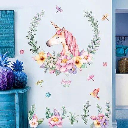 WandSticker4U- XL Wandtattoo Aquarell EINHORN mit Blumen | Wandbild: 110x110 cm | Wandsticker Pferdekopf Vogel Schmetterlinge Tiere Poster Pferd | Deko fürs Kinderzimmer Mädchen Prinzessin Pferde-Fans