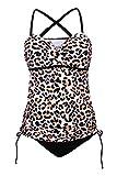 GOSOPIN Damen Tankini Set Criss Cross mit Shorts Bauchweg Bunt für Schwangere Umstandsmode Sportlich Monokini Leopard M