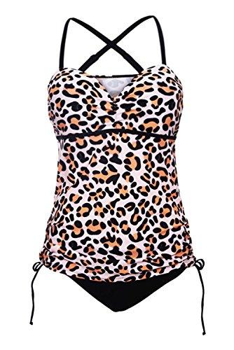 GOSOPIN Damen Tankini Set Streifen Einstellbar Träger Halter Slit Side Crossover Print Swimwear mit Hotpants 2 Teilig 2 Teilig Leopard S (Leopard Print Spandex)