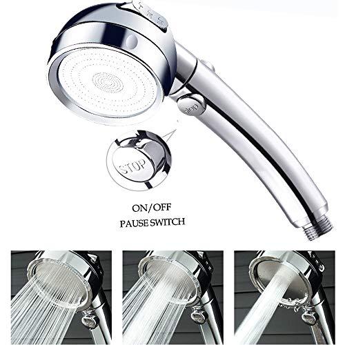 Duschkopf Hochdruck Wassersparend Brausekopf Handheld Handbrause 3 Strahlarten Universal Duschbrause mit Druckerhöhung für mehr Wasserdruck,Regendusche und Massage Funktion, Stopp Taste