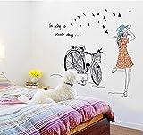 QTXINGMU Fahrrad Mädchen Wandaufkleber Zimmerdekoration Für Kinder Abnehmbare Wand Aufkleber