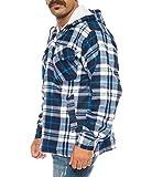 Winter Thermohemd mit Kapuze Holzfällerhemd gefüttert Arbeitsjacke Flanellhemd (Blau/Weiß, M)