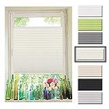 Atlaz Easyfix Plissee Rollo Raffrollo ohne Bohren Klemmfix für Fenster 45x200cm (BxH) Beige Plisseerollo Jalousie Sonnenschutzrollo Fensterrollo mitKlemmträger für Fenster und Tür