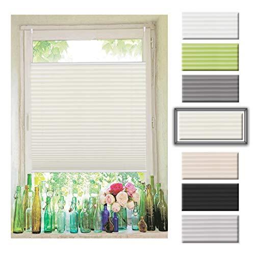 Atlaz Easyfix Plisseerollo Faltrollo ohne Bohren Klemmfix für Fenster 40x100cm (BxH) Beige Plissee Rollo Jalousie Fensterrollo mitKlemmträger für Fenster und Tür