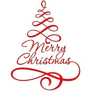 Frasi Albero Natale.Adesivo Albero Di Natale Winomo Adesivi Per Vetrofanie Vetrine Finestre Parete Natalizi Con Frasi Merry Christmas In Rosso