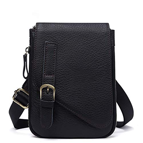 Maybesky Echtes Leder Crossbody Schulter Kleine Umhängetasche Handy Reise Gürteltasche Phone Cases Pouch Outdoor Steampunk Bag Wallet Portemonnaie Tasche (Farbe : Schwarz) - Pouch Wallet Handy Case