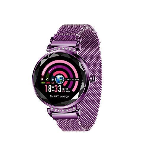 Correa de Malla de Metal Elegante reloj de para las Mujeres,Bluetooth Fitness Tracker Pantalla táctil a Color Con todo EL día Pulso Y EL seguimiento de la actividad-Púrpura