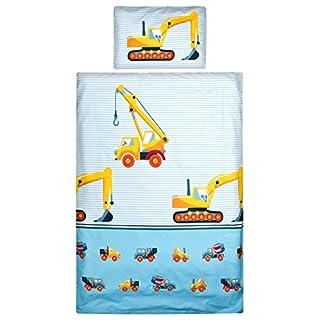 Aminata Kids Bettwäsche Kinderbettwäsche Bagger 100x135 cm/40x60 cm - Jungen Bettwäsche Baustelle Baumaschinen Baufahrzeuge Kran Betonmischer - KINDERBETTGRÖßE