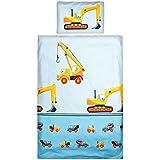 Aminata Kids - Bettwäsche Kinderbettwäsche Bagger 100x135 cm / 40x60 cm - Jungen Bettwäsche Baustelle Baumaschinen Baufahrzeuge Kran Betonmischer - KINDERBETTGRÖßE