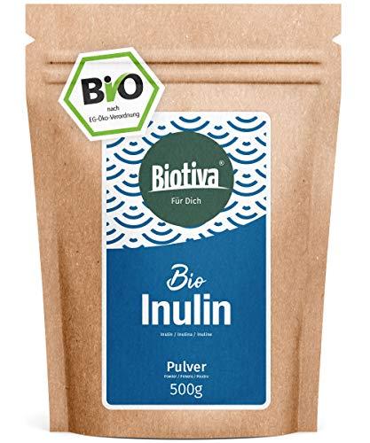Bio-chicorée-wurzel (Inulin Bio Pulver - 500g Agavenpulver mit 90% Ballaststoffgehalt - Präbiotikum - abgefüllt und kontrolliert in Deutschland (DE-ÖKO-005) - 100% vegan)