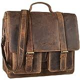 STILORD 'Marius' Klassische Lehrertasche Leder Schultasche XL groß Aktentasche zum Umhängen Businesstasche Laptoptasche echtes Rindsleder , Farbe:mittel - braun