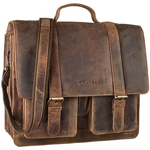 STILORD 'Marius' Klassische Lehrertasche Leder Schultasche XL groß Aktentasche zum Umhängen Businesstasche Laptoptasche echtes Rindsleder , Farbe:mittel - braun (Leder-schultaschen)
