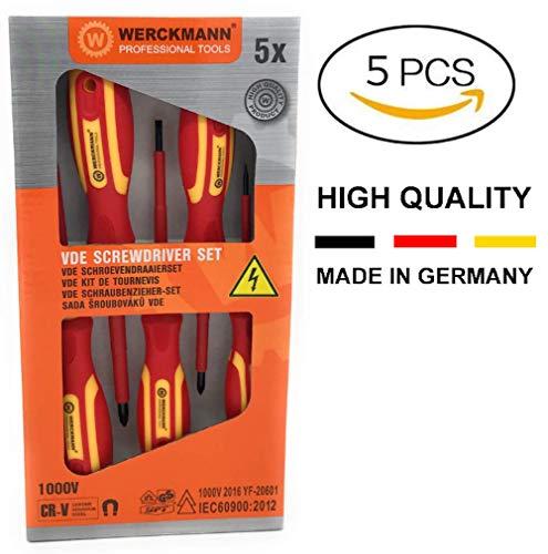 WERCKMANN VDE Elektriker-Schraubendreher, isoliert, 1000 V, ergonomischer Griff, magnetisch, deutsche Qualität, flach, 3 x 75 mm, 4 x 100 mm, 5,5 x 125 mm, Kreuzschlitz: PH1 x 180 mm, PH2 x 100 mm