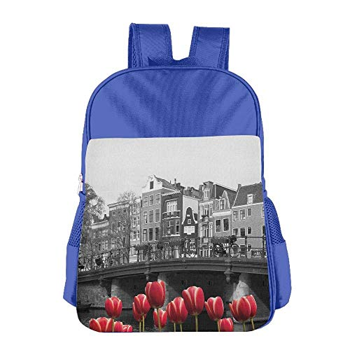 Amsterdam Canal with Red Tulips Houses Children School Backpack Carry Bag for Kids Boy Girl
