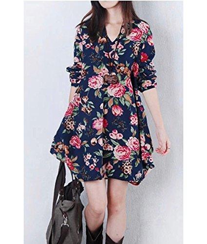 ... BININBOX Damen locker V-Ausschnitt Langarm Kleid mit Blumendruck kleid  Longshirt Sweatshirt Blau