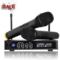 Bluetooth Mikrofon kabellos LESHP S9-UHF Profi System mit 2 Mikrofonen für Karaoke Party Konferenz Sitzung Show Bar Studio