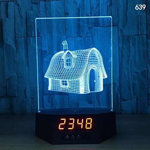 NACOLA Land Hütte 3D LED Nachtlicht mit Uhr,Tisch Schreibtischlampe mit 7 Farben ändern