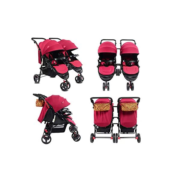 Twin Baby Stroller Sit/recumbent Lightweight Folding Detachable Ultralight Shock Absorber Bb Three-wheeled Trolley Suitable For 0-3 Years Old,L BABY CARRIAGE ZLMI ✿ detachable separately, easy to split and use independently, split twins advantage ✿ one set for three sets: 0-3 years old need one car, no need to buy another single car ✿ Alleviate the travel burden: the baby has their own car in independent action, the reinforced frame is strong in weight! It can bear the weight of two adults at the same time. 2