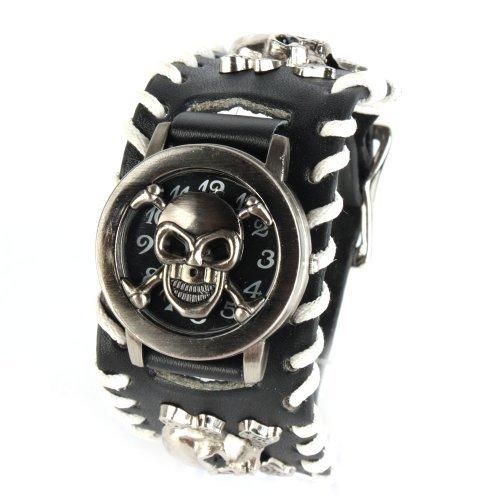 Hombres Gothic Punk UNIQUEBELLA moda reloj de cuarzo, correa de piel Unisex Vintage calavera pulsera reloj, negro, color #2