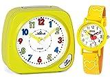 Atlanta Kinderwecker ohne Ticken + Armbanduhr für Kinder Gelb - 1936-2 KAU