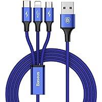 Baseus Multi USB Kabel USB Type C Kabel + Lightning Kabel + Micro USB Kabel | 3 in 1 Mehrfach 3A 1.2m USB Ladekabel für iPhone X/8 8 plus/7/6s/iPad/Macbook/Galaxy S8 Plus/Lg V20 usw. (Blau)