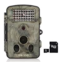CrenovaŽ 12 MP 1080P HD Infrared Low Glow Trail Camera with 16GB Card 120° Wide Angle Night Vision 2.4