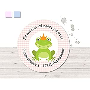 24 Adressaufkleber • Froschkönig • Sticker - 2 Farbvarianten zur Auswahl - kunterbunte Aufkleber vom Papierbuedchen
