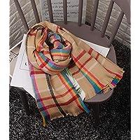 CXIGUA Damen Schals Winter Grid Nähen Warmen Kragen