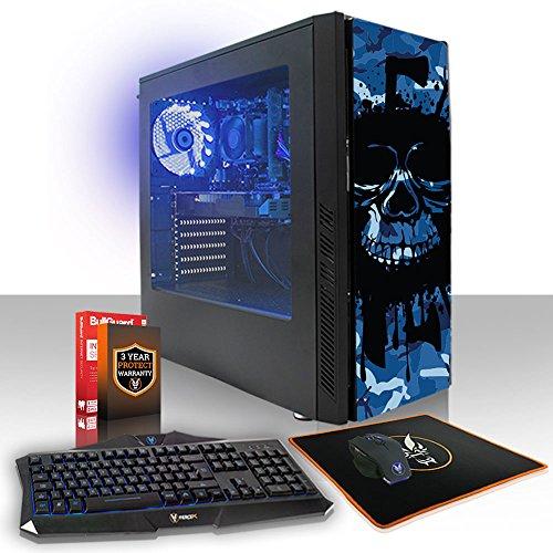 Fierce Exile RGB Gaming PC Bundeln - Schnell 3.7GHz Quad-Core AMD Ryzen 3 2200G, 1TB Festplatte, 8GB 2666MHz, AMD Radeon Vega 8 Grafik, Windows Nicht Enthalten, Tastatur Maus (VK/QWERTY) 408309