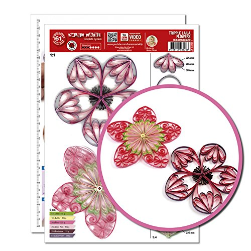 Quilling Template, Tripple Laila Flowers (ohne Pappe)