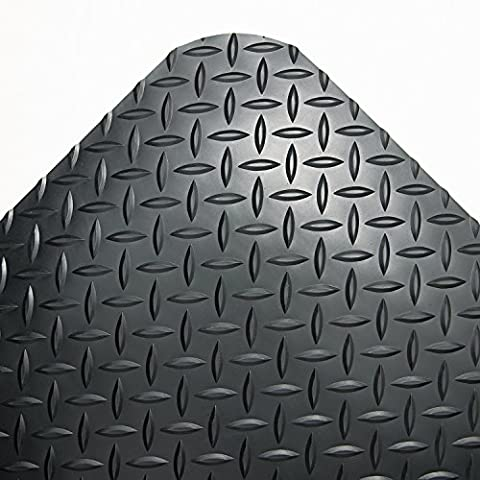 Industrial Deck Plate Anti-Fatigue Mat, Vinyl, 36 x 144, Black