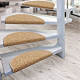 Kit de 15 marchettes d'escalier casa pura® Sphinx à poil long | amortissantes et résistantes | marron clair...